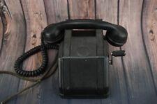 Antique Pre war 1930 Black Bakelite Crank Ringer Heavy Desk Telephone Phone VTG