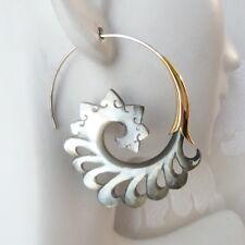 Spiral Gray Shell on .925 Sterling Silver Hook Tribal Earrings Bohemian Jewelry