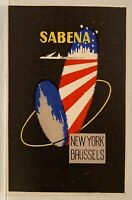 SABENA AIR LINES NEW YORK BRUSSELS Luggage Label ~ Abstract USA Flag Design