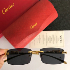 GOLD CARTIER RIMLESS LENSE BLACK BUFFALO
