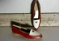 Vintage Steve Salario Red White Whipstitch Leather Women's Shoes Sz 9.5 M #400