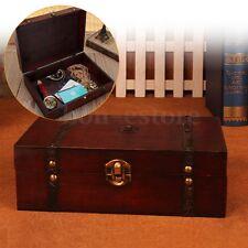 Vintage Wooden Treasure Trinket Storage Jewelry Gift Box Case Orgnizer De: