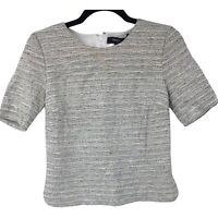 Theory Womens P Petite Gray Black Short Sleeve Top Ladies Shirt Tweed