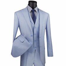 VINCI Men's Light Blue Textured Weave 2 Button 3 Piece Modern Fit Suit NEW