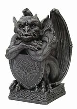 6.5 Inch Resin Medieval Gargoyle with Shield Protection Statue