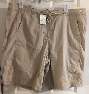 NWT J Jill Women's 24W Shorts 100% Cotton Light Khaki Bermuda Walking Drawstring