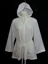 VTG 70s Action Scene Rosemarie Reid White Top Bathing Suit Cover Hood Zip-up M