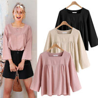 Summer Women's Ladies Loose Long Sleeve Casual Blouse Shirt Tops Cotton Linen