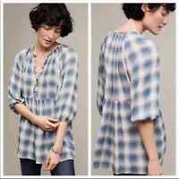 Anthropologie Maeve | Blue Plaid Babydoll Top Womens Small Petite