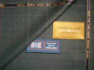 HARDY MINNIS GENUINE 100% SUPER 180's (14.5 Micron) WOOL SUITING FABRIC = 4.15 m