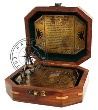 "Vintage Gilbert & Sons London Pendulum Sundial 5"" Antique Brass Compass With Box"