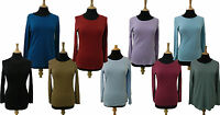 New Ex M&S Pure Cotton Long Sleeve T-Shirt Base Top Size 8 10 12 14 16 18 20 22