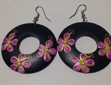 Purple Frangipani Wooden Hoops - Australian Supplier