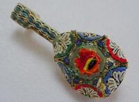 Vintage Micro Mosaic Brooch Mandolin 1950s Floral Metal Italian Souvenir Pin