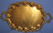 Vintage ornate floral brass serving tray
