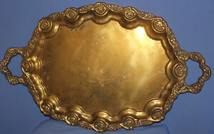 Vintage ornate floral brass serving tray
