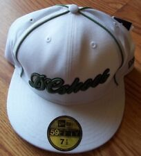 DC Shoes White Green Cinch Fitted Hat Size 7 1/2 Brand New