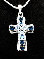 New Royal Blue Austrian Crystal Cross Silver Tone Pendant Charm Necklace
