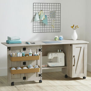 Modern Farmhouse Wood Sewing Table, Rustic White