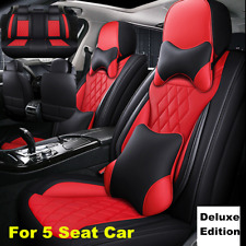 5D Deluxe Leather Car Seat Cover Full Set Seat Cushion Mat Protector Black/Red