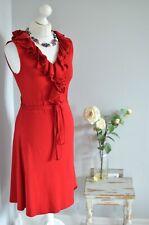LAUREN Ralph Lauren red ruffle belted sleeveless dress SMALL Petite