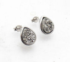 Drop Pear Shaped Platinum Drusy Stud Earrings Anti-Tarnish 925 Sterling Silver