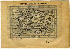 1609 Genuine Antique miniature map Natolia, Asia minor, Turkey. by A. Ortelius