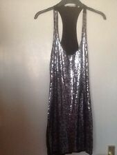 Ladies Size 8 Black & Silver Dress Sequined Short plain back tight fit