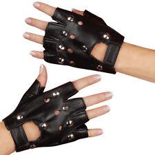 Studded Gloves Fingerless Black Leather Punk Costume Emo Rocker Glovelets Adult