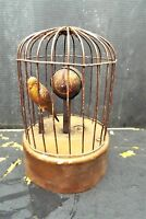 Antique  Round Mechanical Singing Bird In Cage Music Box