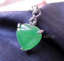 Beautiful Green Jade Chinese Heart Inlay Design Lucky Pendant + Chain Necklace