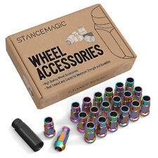 (20) 12x1.5 Lug Nuts | Neochro Neochrome | Cone Seat | Extended Tuner Open Ended