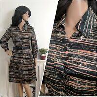 Vintage 70s Satin Black Abstract Stripe Print Button Shirt Mini Dress 8 10 36