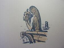 """51 /  AQUARELLE PARIS / Gargouille de Notre Dame """" Le Diable """""""