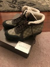 Gucci Mens Boots 39 US 9.5 10 Hightop Authentic Rare Brown Logo