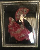 1910-1930 Tinsel Painting on Glass with Glitter Background, Flamenco Dancer