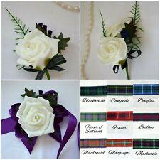 Scottish Buttonholes Wedding Tartan Ribbon Single Double Corsage Rose Thistle