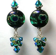 Handmade Teal Peacock eye Lampwork Art Glass Sterling Silver Leverback  Earrings