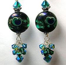 Handmade Teal Peacock eye Lampwork Art Glass Sterling Silver Leverback  Earrings
