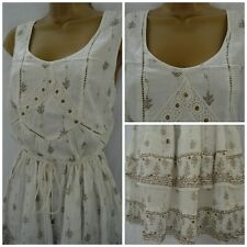 NEW PEACOCKS SUN DRESS CREAM BEIGE FLORAL LEAF BRODERIE LACE SUMMER SIZE 18