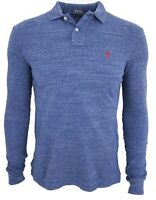 POLO RALPH LAUREN MENS CLASSIC ROYAL HEATHER CUSTOM FIT LONG SLEEVE POLO SHIRT