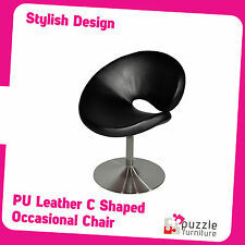 Occasional Chair in Curved C Shaped with Black PU leather Upholsery Brand New