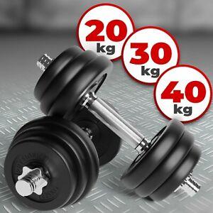Physionics® Kurzhantel Set 20kg 30kg 40kg Hantelscheiben Krafttraining Hantelset