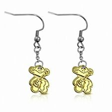 Instrument Musical Guitar 2 Tones Steel Pooh Earrings with Croche