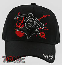 NEW! GRIM REAPER DEATH SKULL BALL CAP HAT BLACK