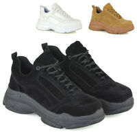 Womens Lace Up Trainers Chunky Platforms Ladies Sneakers Retro Shoes Size 3-8