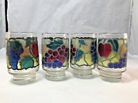 Vintage Set of 4 Libbey Stained Glass Drinking Glasses