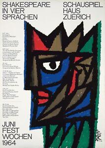 Original Vintage Poster Piatti Shakespeare Zurich 1964 Theatre Swiss