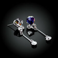 Wholesale 18k White Gold Filled Rainbow Crystal Drop Stud Earrings