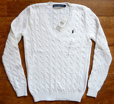 POLO RALPH LAUREN WOMENS NEW WHITE NAVY CABLE KNIT V NECK JUMPER XS S M L XL XXL